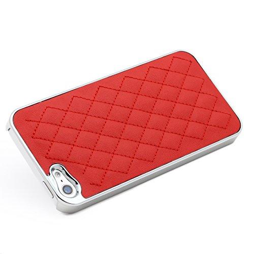 Original UrCover® Steppmuster Backcase für das Apple iPhone SE / 5 / 5s [deutscher FACHHANDEL] Case Schutz Hülle Cover Etui Tasche Pink Rot