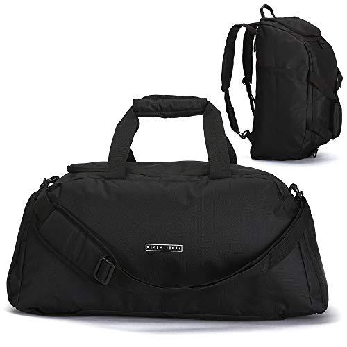 ronin\'s 3in1 Sporttasche Reisetasche mit Schuhfach + Rucksack-Funktion + Laptopfach   38 Liter Handgepäck Weekender   für Männer und Frauen   (Black Night)