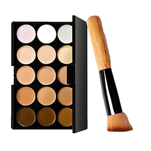 Ombre des yeux,OVERMAL 15 Couleurs De Maquillage Concealer Contour Palette + Pinceau De Maquillage (Multicolore)