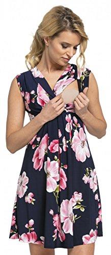 Happy Mama. Damen 2in1 Umstands gerafften Stillkleid Skaterkleid Ärmellos. 808p (Marine mit Blumen, EU 42, XL)
