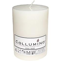 Collumino® Bougie Pilier®, Longue durée de Combustion Table, Table de bistrot Église Mariage Bougie, Blanc, 10 x 7 cm