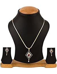 KAAYRA American Diamond Gold Plated Pendant Set With Chain And Earring For Women & Girls