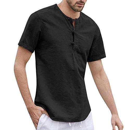 Beonzale Herren Baggy Baumwolle Leinen Knopf Solide Kurzarm O-Neck T Shirts Tops Blusen Patchwork-Kurzarm-T-Shirt-Spitzenbluse Der Art- Und Weisemänner