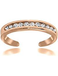Sterling Silver, 18k Yellow or Rose Gold Plated Toe Ring with Channel Set Cubic Zirconia