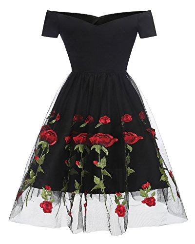 Promgirl House Damen Neu Kurz Mini Ab-Schulter Kurze Aermel Satin Rose Print Chiffon Abendkleid Partykleid Festkleid Kurz