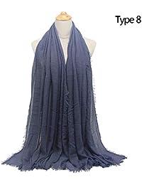 HITSAN INCORPORATION Cotton Plain Crinkle Cloud Scarf Shawl Solid Soft  Headcover Autumn Winter Women Wrap female Shawl… 66ba6f439f8