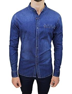 Mat Sartoriale Camicia di Jeans Uomo Blu Denim Casual in Cotone con Colletto Alla Coreana