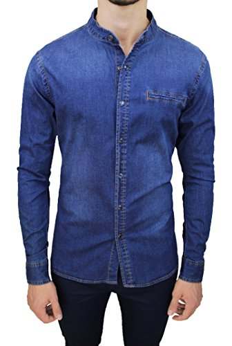 Mat sartoriale camicia di jeans uomo blu denim casual in cotone con colletto alla coreana (l)