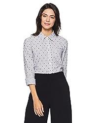 GAP Womens Plain Regular Fit Cotton Shirt (92496683602_Mini Stripe Black_X-Small)