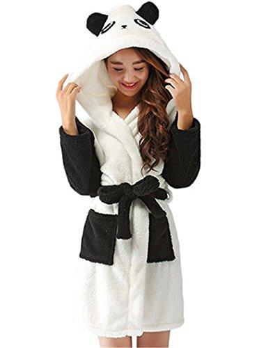 Kenmont Damen Baumwolle Bademantel mit Kapuze, Morgenmantel Tier Cosplay Kostüme Pyjama Robe (S, Panda)