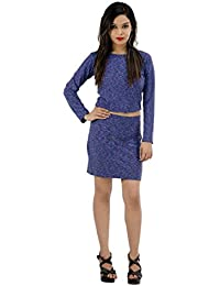 Fashion Parakeet's Women's Westren Dress | Multi Textured Grey and Purple | Slim Fit |