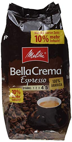 Melitta Ganze Kaffeebohnen, 100 {65d7a51561c86d8ed0814f58969e5215e41cf83eaa8cbc058fbe8305860eba59} Arabica, reiches Aroma, intensiv-würziger Geschmack, kräftiger Röstgrad, Stärke 4 bis 5, BellaCrema Espresso, 1100 g