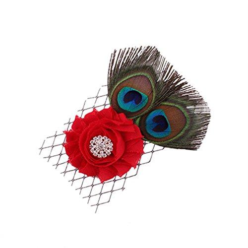 coolgoes 1 de plumes de paon avec fleur pour bébé fille bande de cheveux Bandeau Coiffe Kid