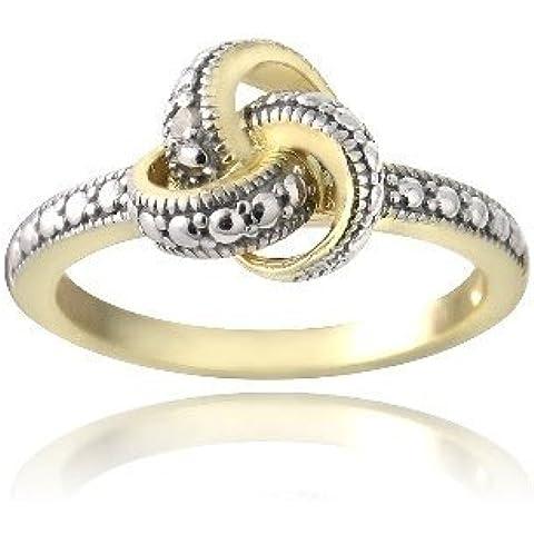 Tono de oro sobre plata Esterlina anillo de compromiso de diamantes y acento nudo de amor