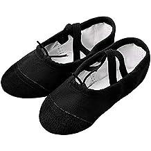ZODOF Zapatillas de Lona de Ballet Pointe Dance Zapatillas de Gimnasia de Fitness para niños Niños