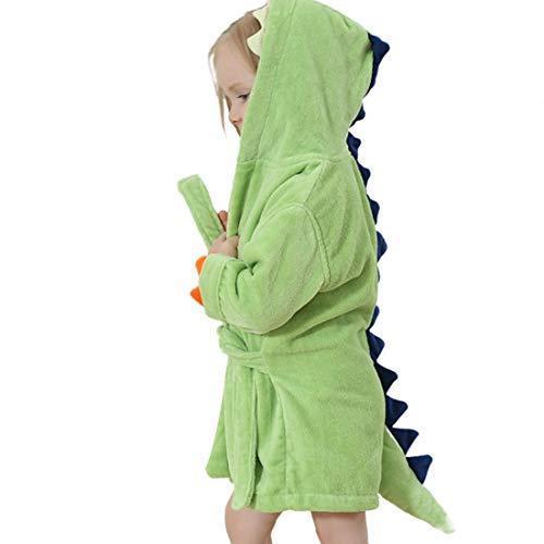 GWELL Kinder Baby Bademantel mit Kapuze Badetuch Kapuzenhandtuch Schlafanzug Nachtwäsche aus Samt Tier Dinosaurier Motiv für Mädchen Jungen Grün 1-3 Jahre