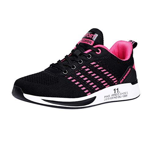 Deloito Damen Sneaker Leichte Modische Turnschuhe Fliegendes Weben Socken Sport Schuhe Schüler Freizeit Atmungsaktiv Laufschuhe (41 EU, Pink-07)