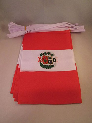 AZ FLAG Guirnalda 6 Metros 20 Banderas de PERÚ 21x15cm - Bandera PERUANA 15 x 21 cm - BANDERINES