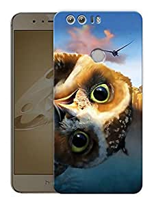 """Humor Gang Staring OwlPrinted Designer Mobile Back Cover For """"Huawei Honor 8"""" (3D, Matte Finish, Premium Quality, Protective Snap On Slim Hard Phone Case, Multi Color)"""