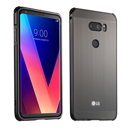 LG V30 UltraSlim Case Premium Aluminium Schutzhülle Rahmen für LG V30, Schwarz