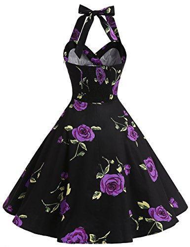 Bbonlinedress Neckholder 50er Vintage Pinup Retro Rockabilly Kleid Cocktailkleider BlueFlower