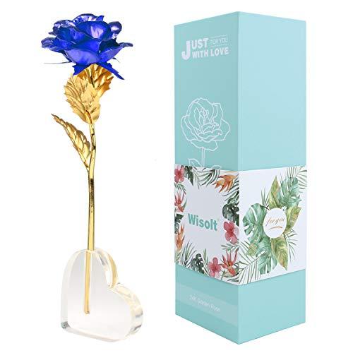 Wisolt 24K Gold Rose, verbesserte Lange Stem Gold Foil Rose mit herzförmigen Display-Ständer, Einzigartige Geschenke für sie, Mädchen, Frau, Mama(Blau)