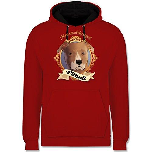 Hunde - Pitbull - Knutschkugel - Kontrast Hoodie Rot/Schwarz