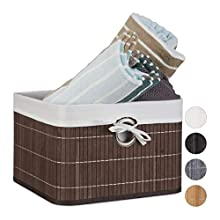 Relaxdays Bamboo Basket 20 x 31 x 31 cm Shelf with Removable Cover Decorative Storage Box with Handles, Brown, 31 x 31 x 20 cm