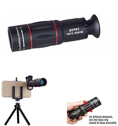 Optoelectronics Technology Monocularteleskop, 18 X 25External langes Fokusteleskop, einziehbares tragbares Monokel für Vogelbeobachtung Reisen, draußen, (Telefonadapter und Stativ)