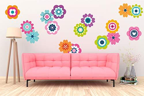 Wandsticker-Set, Retro-Blumen, Hippie-Aufkleber, Wandbild 60er / 70er Jahre, Vintage-Blumenmuster - Large - 150 x 108cm