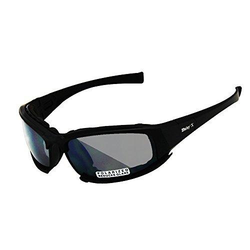 EnzoDate Daisy X7 polarizado ejército Gafas de Sol, Gafas Militares 4 Lente Kit, Hombres Juego de Guerra táctica Gafas al Aire Libre (Negro, 1 Lente polarizada (Fuera de 4))