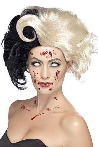 Cruella Kostüm De Vil Perücke - Smiffy's 44264 - Das Böse Madame Wig Deluxe und Blond