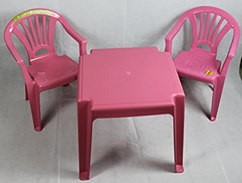 Plastic chairs and Table set Furniture for Kids Childrens Boys and Girls study table suitable for Garden or Inside Nursery