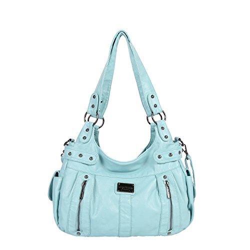 Angel Barcelo Frauen Top Griff Satchel Geldbörsen und Handtaschen Schultertasche Multi Cross Body Bag Zwei Reißverschluss Design Geldbörse (Light Blue) -
