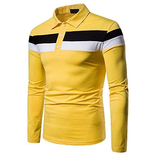 Yvelands Camisas para Hombres Ocasionales, Polo con Paneles para Hombre, Manga Larga, Informal, Slim fit, Top ¡Caliente! (Amarillo, M)