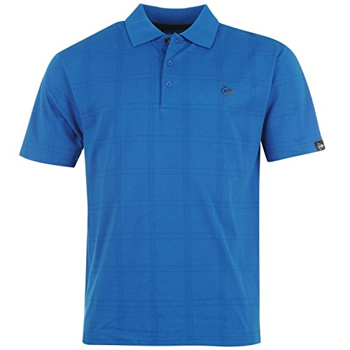 Dunlop Herren Kurzarm Check Print Golf Polo Shirt T-Shirt Tee Top Sportshirt Blau XXX Large (Check-polo-t-shirt)
