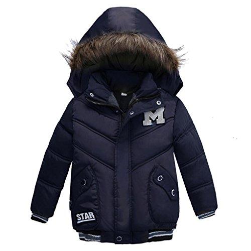 Babykleidung,Sannysis Kinder Mantel Jungen Mädchen Dick Jacke Gepolsterte Winterjacke Kleidung 2-5Jahre (100, Dunkelblau) (Jungen Shirt Gepolsterte)
