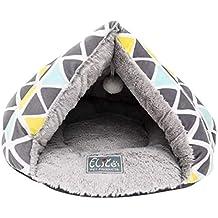 Xinwcang Nido Casa para Mascotas Cama Cueva para Gato Perros Pequeño Gris Blanco