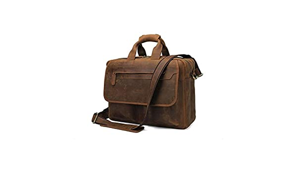 Xinyuan Mens Leather Handbag Crazy Horse Leather Retro Mens Shoulder Messenger Bag Work Conference Business Dark Coffee Color