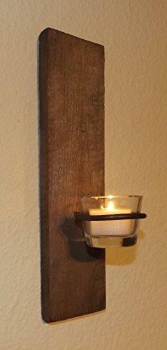 Wandkerzenhalter H1010 altes Holz verwittert mit Teelichtglas und Teelicht