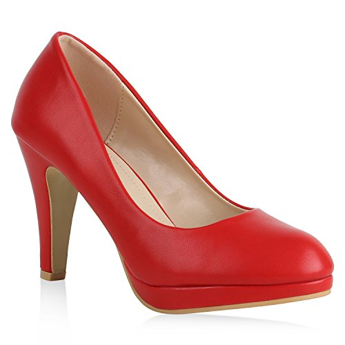Damen Plateau Pumps Leder-Optik Schuhe Stiletto High Heels Basic 159541 Rot Rot 37 Flandell