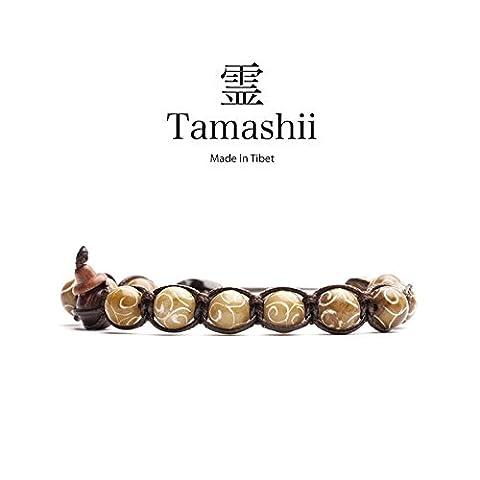 Tamashii: Bracelet tibétain, UNISEX TAILLE, traitement naturel AIR slacked, pierre BROWN JADE BHS900-144