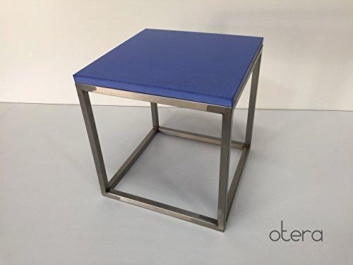 Beton & Edelstahl Beistelltisch/Couchtisch in blau | otera - Couchtisch Blauer