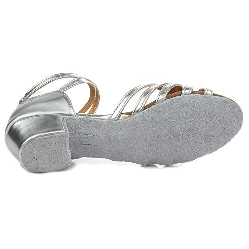 Hroyl Femme I-202 Chaussures De Danse Latine En Satin / Chacha / Samba Cuir De Sala Argento