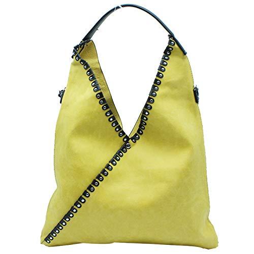 MISEMIYA - Borsa a Mano Donna Pochette e Clutch Borse a mano e a spalla mano borsa SR-A9521(42 * 50 * 1cm) - Giallo