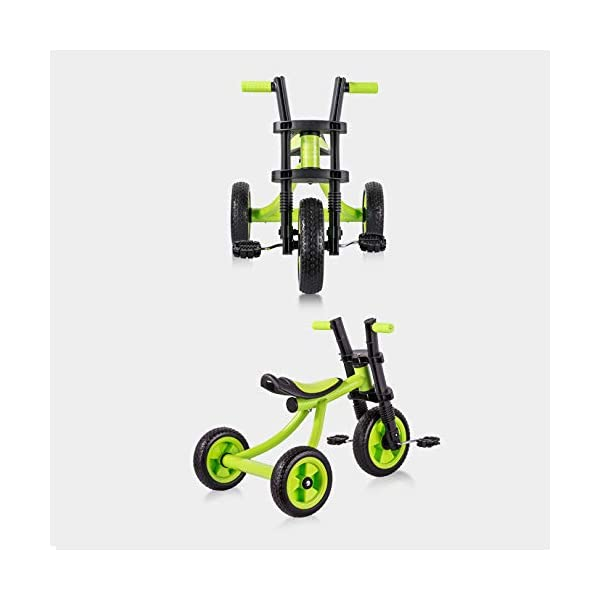 BGHKFF Childrens Tricycles 2 To 5 Years Anti-slip Pedals Kids Tricycle The Seat Can Be Adjusted Back Child Trike Maximum Weight 25 Kg,Green BGHKFF ★Material: Steel frame + TPR plastic, suitable for children aged 2-5, maximum weight 25 kg ★ Size: 57*25*37cm/22.4*9.8*14.5inchs ★Features: The frame is made of steel, high-strength argon arc welding technology, strong and firm; the front fork of the handlebar is integrated, anti-bias, anti-dislocation, anti-loose; rear-wheel quick-disconnect design, easy to disassemble; 2