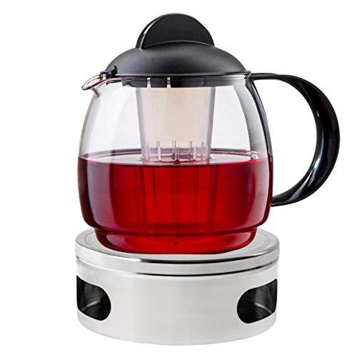 """Teekanne mit Stövchen Set """"Classic"""" 1,8 l Teekanne aus Glas mit Siebeinsatz und Teewärmer aus Edelstahl Ø 15 cm"""