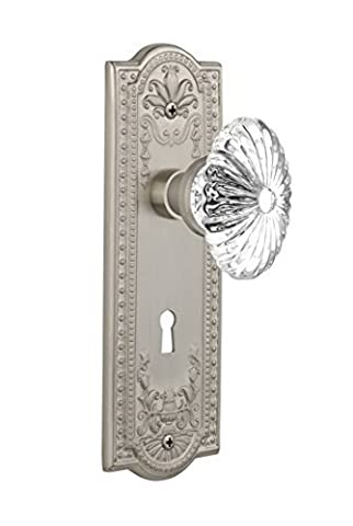 Nostalgic Warehouse Meadows Plate with Oval Fluted Crystal Knob and Keyhole Complete Mortise Set, Satin Nickel by Nostalgic