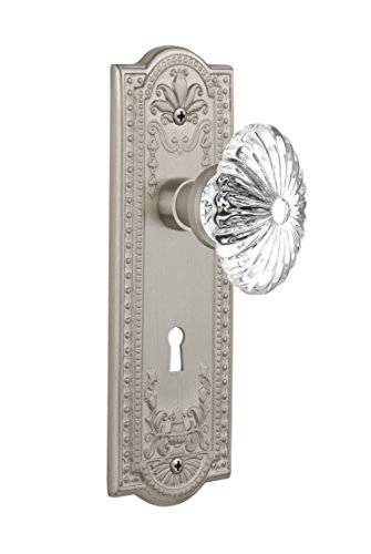 Nostalgic Warehouse Meadows Plate with Oval Fluted Crystal Knob and Keyhole Complete Mortise Set, Satin Nickel by Nostalgic Warehouse Fluted Crystal