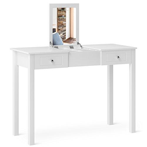 HOMFA Tocador Mesa para Maquillaje con espejo plegable 2 cajones y 1 joyero Mesa de Escritorio Blanco 111x48x81.5cm
